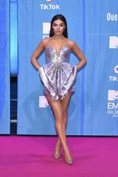 dress,sequins,silver,sparkly dress,celebrity,celebrity style,mini dress,bustier dress,pumps,mtv,red carpet dress