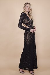 dress,cut out gown,prom dress,wedding dress,black dress,black top,black crop top,prom,black prom dress,long dress,long sleeves,long sleeve dress,sexy dress,sexy shirt,fashion,wisteria,cutout back,french lace,party dress,party