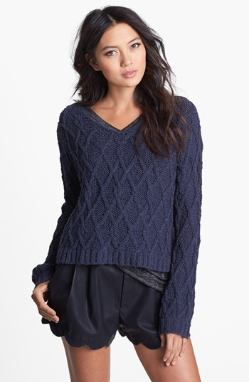 Tildon Lattice Knit Crop Sweater | Nordstrom