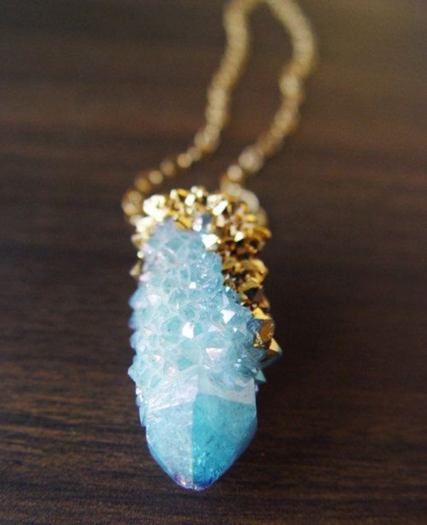 jewels light blue gold stone red raw stone stone necklace