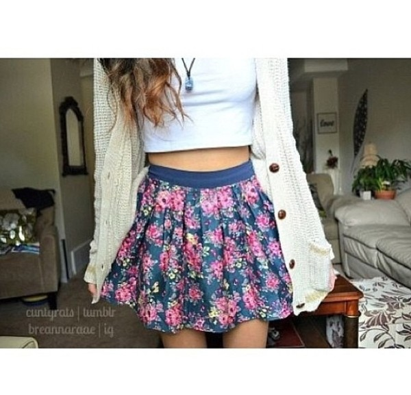 sweater knitted sweater knitwear cardigan fall outfits skirt floral