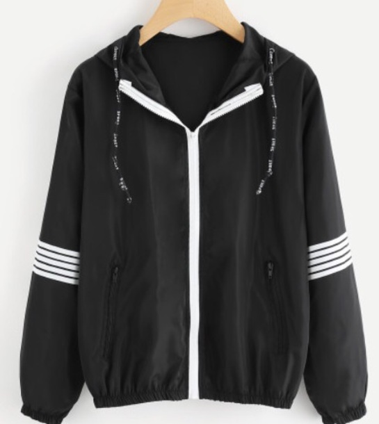 jacket girly black black and white stripes white windbreaker hoodie zip zip-up zip up jacket