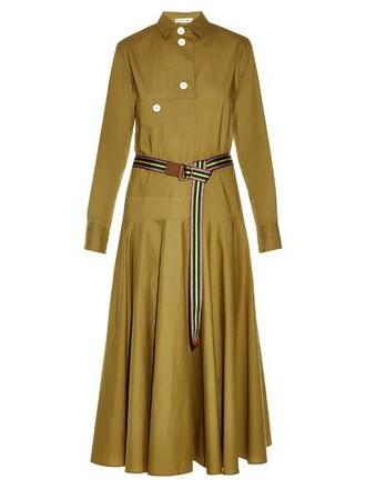 shirtdress midi khaki dress