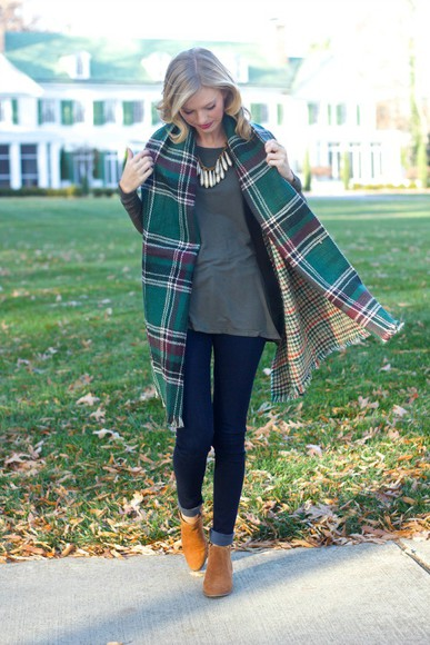 blogger jeans ankle boots jewels life with emily top blanket scarf necklace