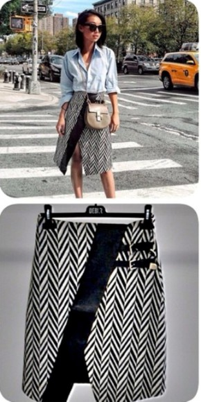skirt midi skirt fashion week 2014 zigzag black and white highcut blogger blogger outfit brand leather midi