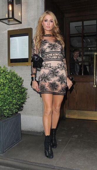 dress paris hilton lace dress see through dress bodycon dress mini dress
