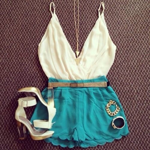 shorts shirt shoes jumpsuit cream and teal jumpsuit romper