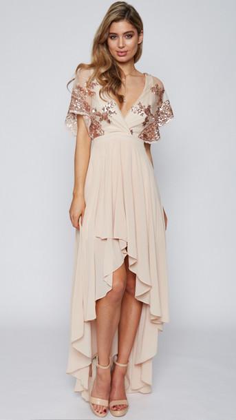 af2116db9 dress beige dress rose gold sequins popcherry popcherry fashion high low  dress cream dress formal dress