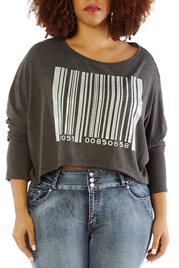 sweater bar code cropped sweater skinny fit plus size