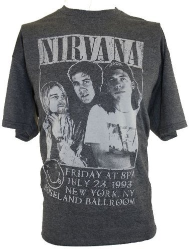 IN MY PARENTS BASEMENT Nirvana (Kurt Cobain) Mens T-Shirt - Roseland Ballroom Distressed Band Pic on Gray : Mens Shirts