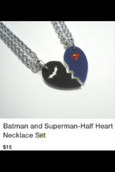 jewels superman halfheart neckless
