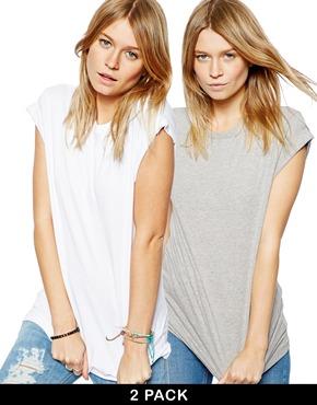 ASOS | Pack de 2 camisetas estilo boyfriend con mangas remangadas de ASOS, AHORRA UN 20% en ASOS