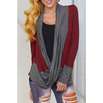 cardigan grey red long sleeves fashion style criss cross trendy cool stylish long sleeve color block criss-cross t-shirt for women cute