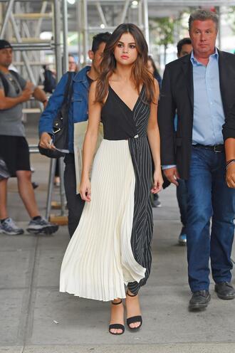 dress selena gomez pleated sandals sandal heels maxi dress