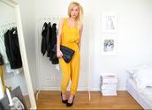 pants,yellow,stylish,heels,bag,jumpsuit,victoria tornegren