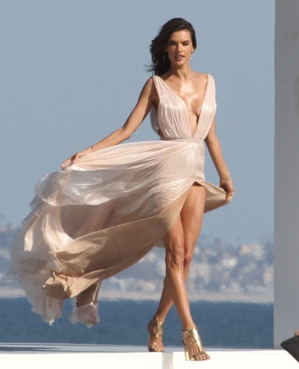 dress prom alessandra ambrosio plunge v neck nude sexy dress pink beach summer celebrity style model gown