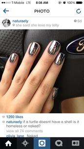 jewels,metallic,metallic nails,fake nails,metallic fake nails