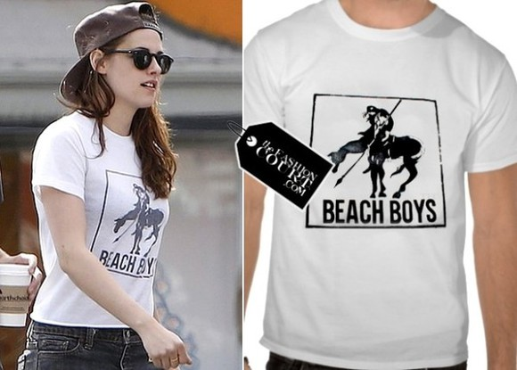 kristen stewart t-shirt white black beach boys music ilovekristenstewart robsten happybday marryme perfect cats not holdinghands wazzupp vintage band t-shirt