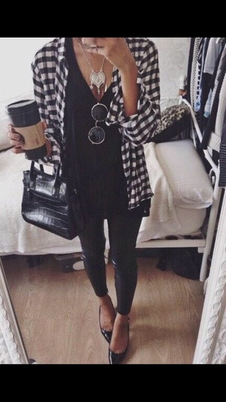 flannel jeans top jewelry bag whole outfit.. shirt