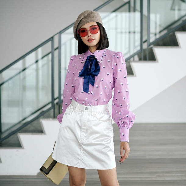 olivia lazuardy blogger hat sunglasses top skirt bag shoes beret blouse white skirt fall outfits