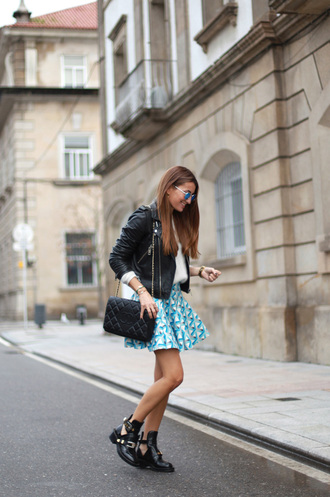 b a r t a b a c blogger bag sunglasses jewels cut out ankle boots geometric skater skirt light blue leather jacket