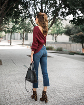 sweater,tumblr,knit,knitted sweater,burgundy,burgundy sweater,denim,jeans,blue jeans,cropped jeans,boots,ankle boots,bag,black bag,open back,open back top,backless,backless top,backless sweater,oversized sweater,high heels boots,leopard print,handbag,sunglasses