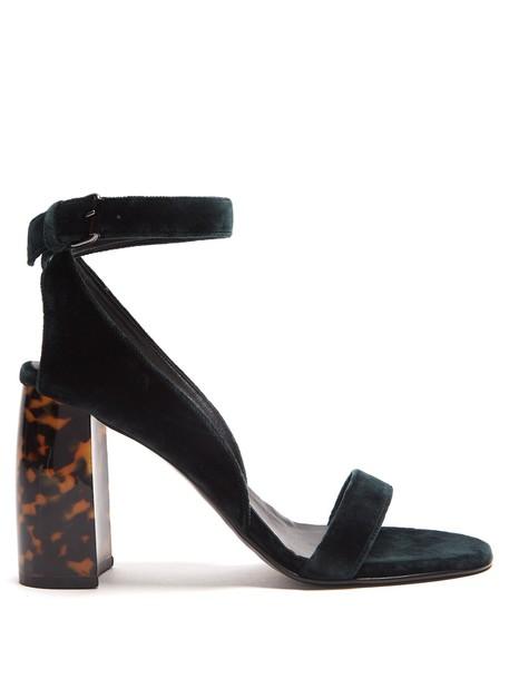 Stella McCartney heel velvet sandals sandals velvet dark green shoes