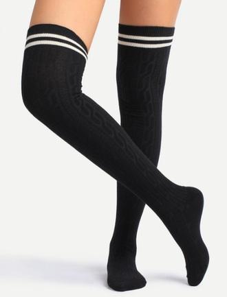 socks knee high socks knit black white over the knee