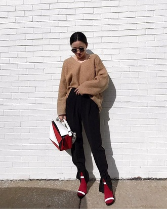 bag loewe camel sweater loewe bags handbag black pants pants sweater knitted sweater knit sandals