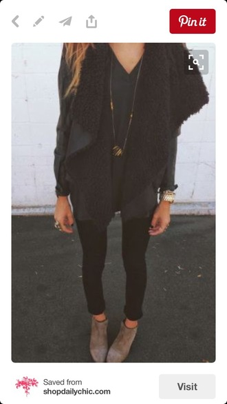 faux fur vest fall outfits winter outfits cozy fashion style black