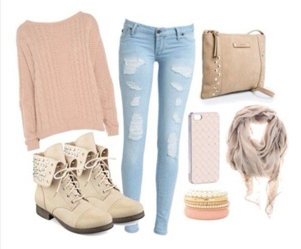 shoes pink sweater ripped jeans scarf bag boots ankle boots studded shoes jeans