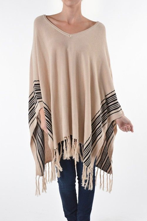 M/L BLACK SIDE STRIPED BEIGE/BROWN PONCHO WITH FRINGE SELENA GOMEZ CELEB STYLE