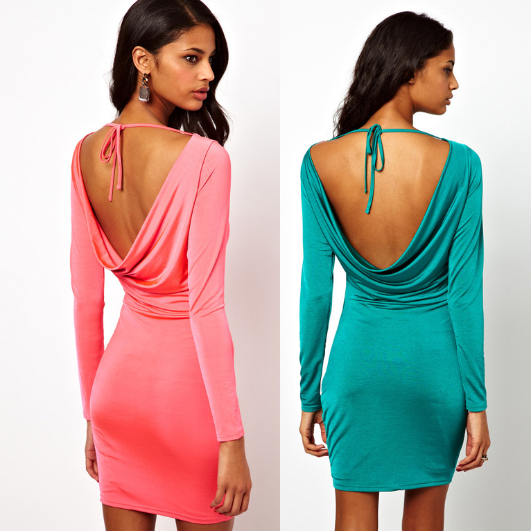 New 2014 Summer Dress Women Clothing Solid Color Backless Dress Women Full Sleeve Slash Neck Mini Bandage Bodycon Dresses -in Dresses from Apparel & Accessories on Aliexpress.com
