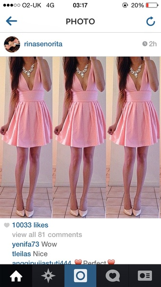 dress plunge neckline pink pink dress grad homecoming long long dress