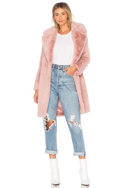 Lovers + Friends coat faux fur coat fur coat fur faux fur pink
