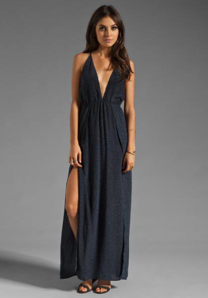 Indah River Split Front Wrap Side Evening Dress in Black in Black | Lyst