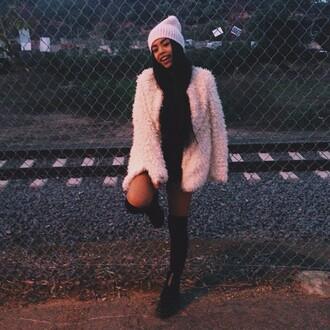 coat white jumpsuit pocket t-shirt fashion fluffy beanie cream high heels blouse black heels hair accessories kylie jenner kirsten dunst kimono karrueche kim kardashian kate moss bethany mota hippie hipster bikini hipster knee high socks
