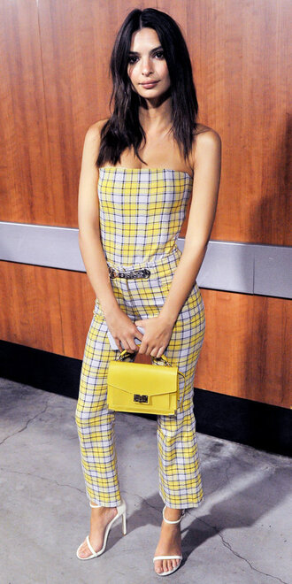 top plaid pants emily ratajkowski sandals purse model off-duty yellow bag strapless