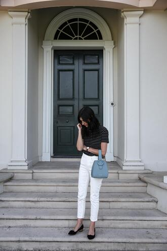 mademoiselle blogger shoes jeans bag top blue bag white pants striped top