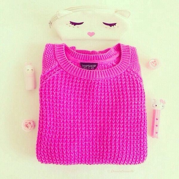 sweater hot pink knit