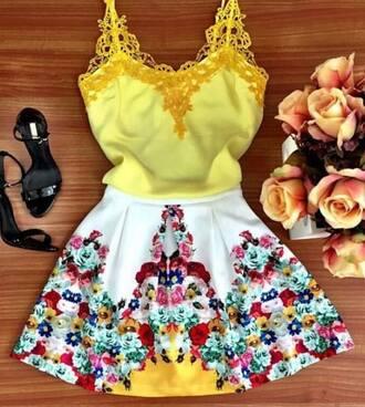 dress yellow yellow dress white white dress flowers lace beautiful
