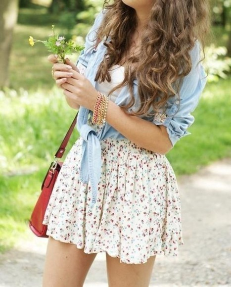 floral skirt bag jean shirts