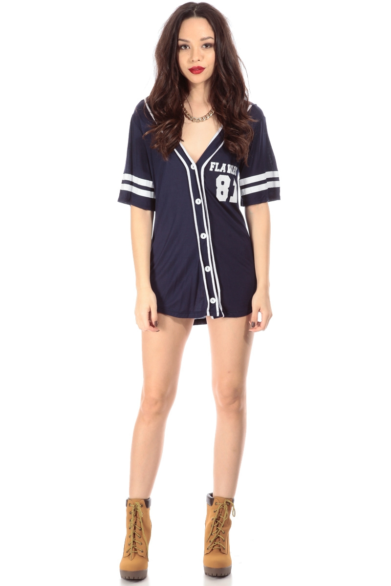 Flawless navy jersey graphic top cicihot top shirt for Best online tailored shirts