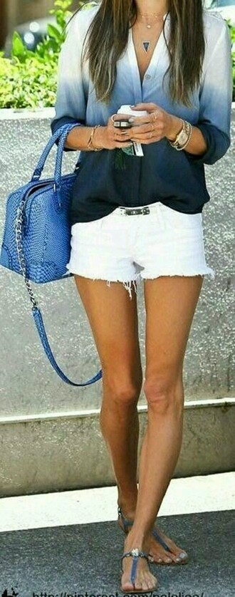 blouse clothes summer spring ombre shorts