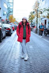 tanvii,blogger,jacket,leggings,shoes,hat,beanie,red coat,winter outfits,winter boots