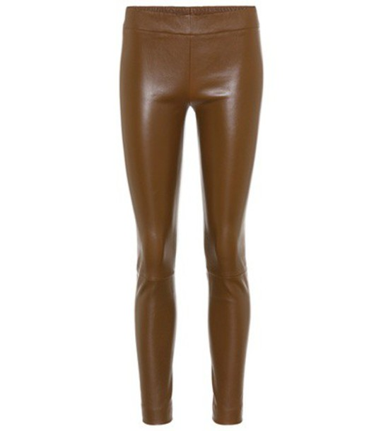 The Row leggings leather leggings leather brown pants