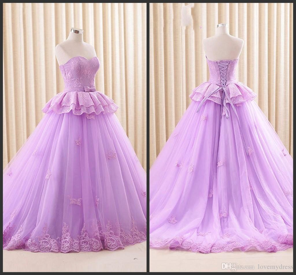 Light Purple Wedding Gowns Sweetheart Neck Lace Up Back Count Train ...