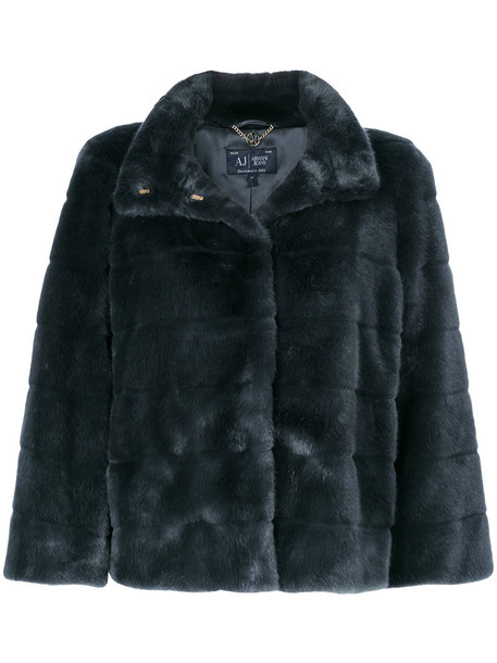 ARMANI JEANS jacket faux fur jacket fur jacket fur faux fur women blue