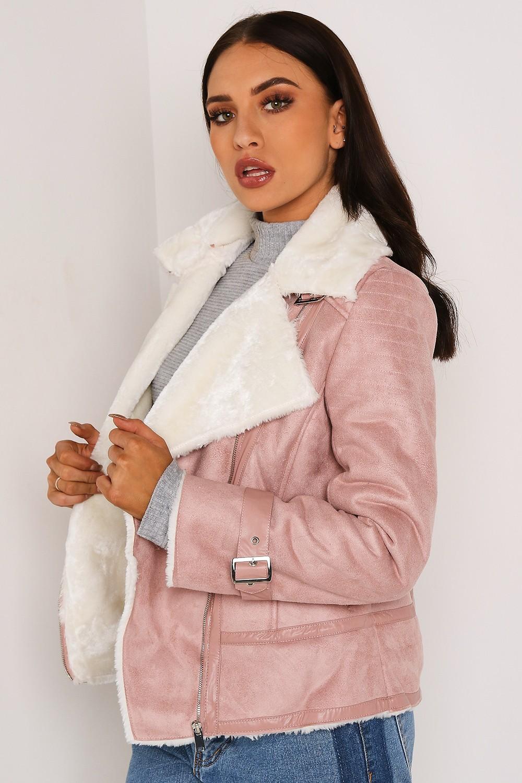 Pink Aviator Jacket With Shearling Detail   LASULA