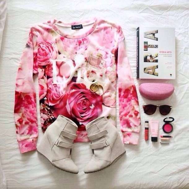 sweater dior crewneck crewneck crewneck sweater pink pink sweater flowers hair accessory accessories